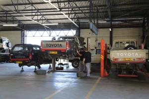 BR Toyota mechanics in the workshop